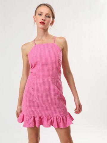 שמלת משבצות מיני עם סיומת מלמלה