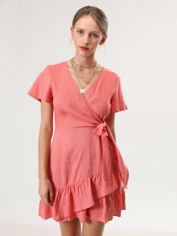 שמלת פשתן מיני בסגנון מעטפת עם שכבות מלמלה