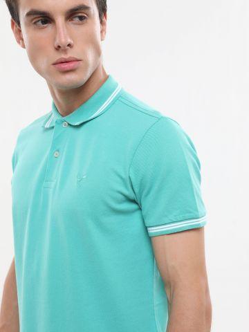 חולצת פולו עם רקמת לוגו ושוליים מודגשים