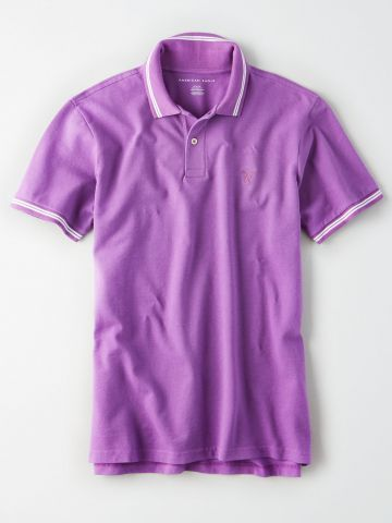 חולצת פולו עם רקמת לוגו ושוליים מודגשים / גברים