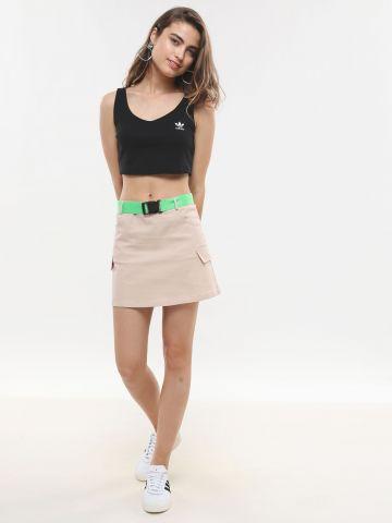 חצאית מיני דגמ״ח עם חגורת ניאון