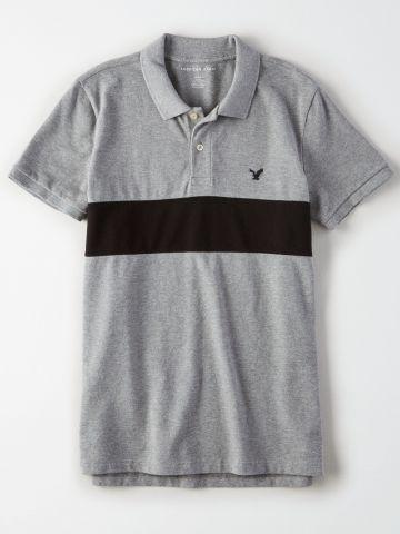 חולצת פולו קולור בלוק עם לוגו/ גברים