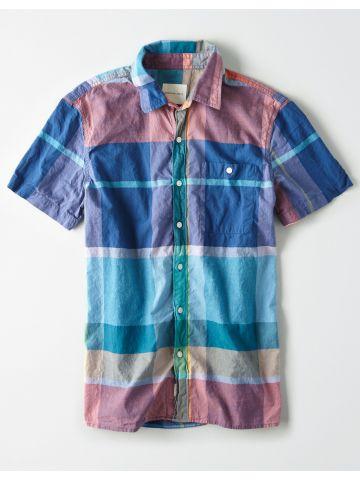 חולצה מכופתרת בהדפס משבצות / גברים
