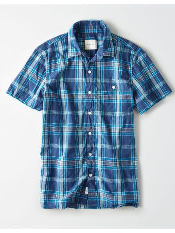 חולצה מכופתרת בהדפס משבצות\ גברים