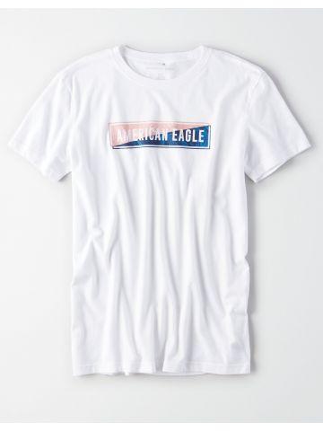 טי שירט עם הדפס לוגו בוקס / גברים