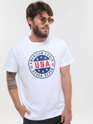 טי שירט עם הדפס לוגו USA