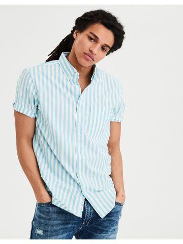 חולצה מכופתרת קצרה בהדפס פסים