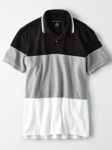 חולצת פולו קולור בלוק עם לוגו / גברים