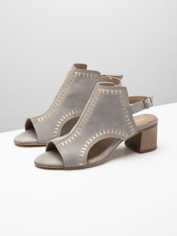 נעלי עקב זמש בסגנון בוהו