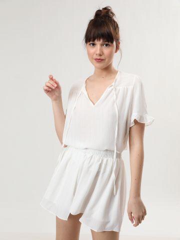 חצאית מיני בהדפס פסים מטאליים