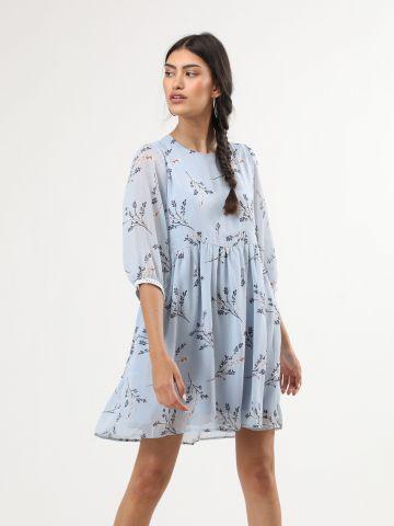שמלת מיני פרחונית בשילוב לורקס