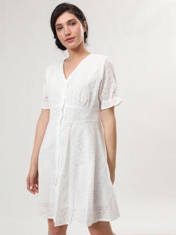 שמלת מיני עם רקמה וכפתורים