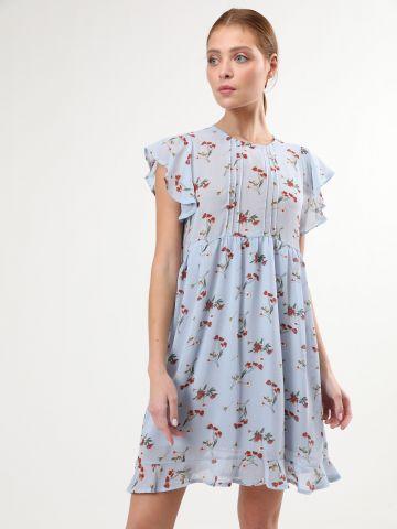 שמלת מיני בהדפס פרחים עם מלמלה של YANGA