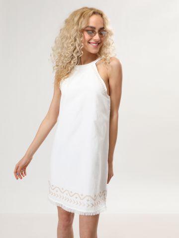 שמלת קולר מיני עם עיטורי רקמה ופרנזים