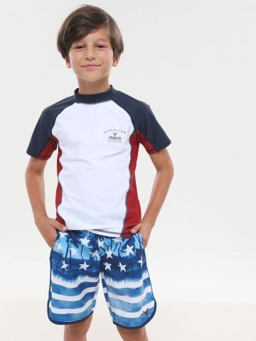 מכנסי בגד ים בהדפס אמריקה