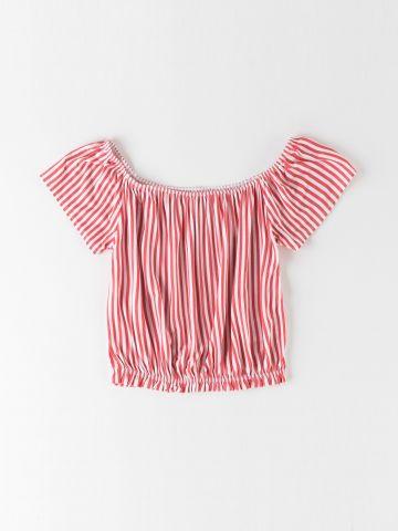 חולצת אוף שולדרס בהדפס פסים / בנות