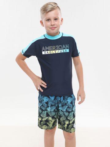 מכנסי בגד ים בהדפס עלים אומברה