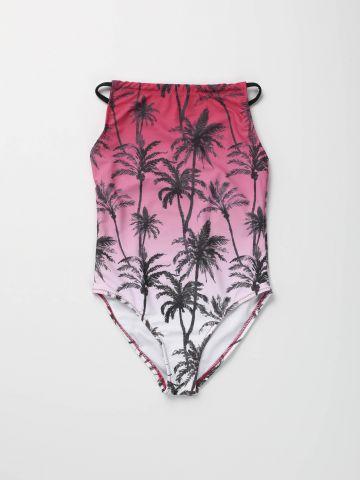 בגד ים שלם אומברה בהדפס טרופי / בנות