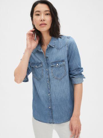 חולצת ג'ינס ווש מכופתרת