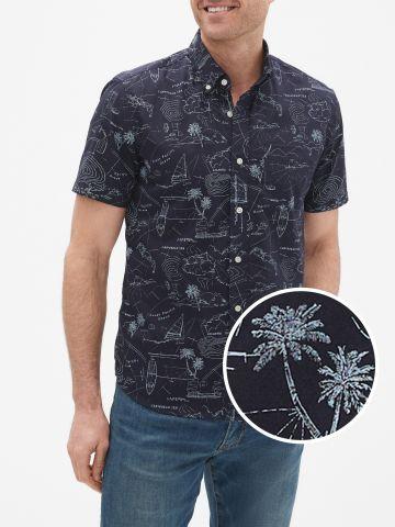 חולצה מכופתרת בהדפס איורים עם שרוולים קצרים