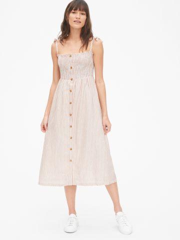 שמלת מידי בהדפס פסים עם כיווצים