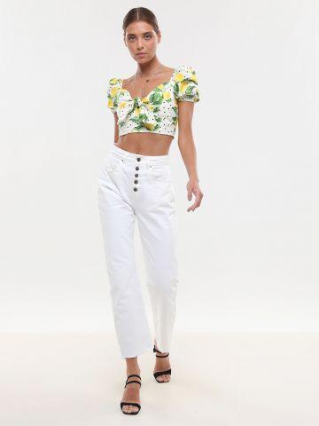 ג'ינס MOM בגזרה גבוהה עם כפתורים בחזית וסיומת פרומה