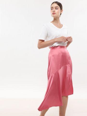 חצאית סאטן מידי אסימטרית