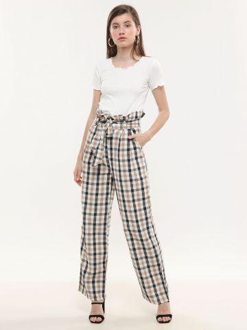 מכנסי פייפרבאג בהדפס משבצות