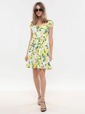 שמלת מיני פפלום בהדפס לימונים