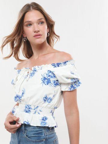 חולצת אוף שולדרס קרופ בהדפס פרחים