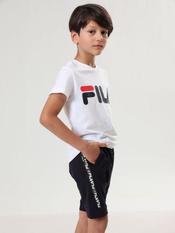 מכנסי טרנינג ברמודה עם סטריפ לוגו רץ