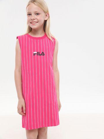 שמלת מיני בהדפס פסים עם לוגו