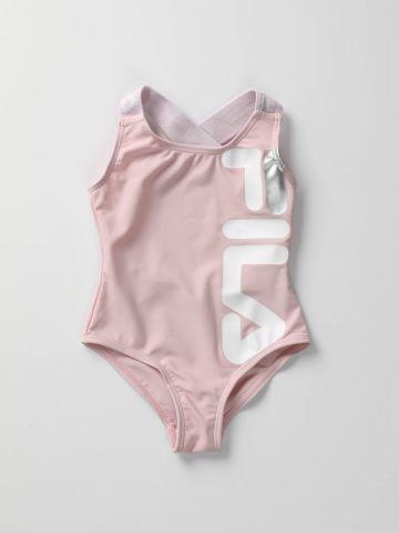 בגד ים שלם עם הדפס לוגו / בנות