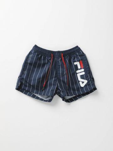מכנסי בגד ים בהדפס פסים עם לוגו / בנים