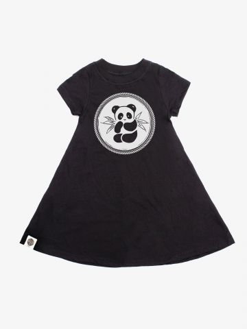 שמלת טי שירט עם הדפס פנדה / בנות