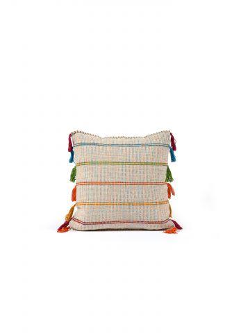 כרית נוי naomi בעיטור פונפונים צבעוניים