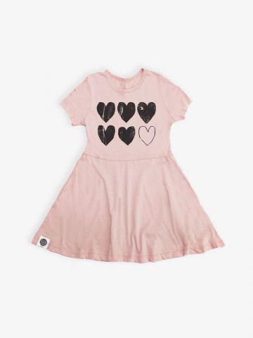 שמלת טי שירט בהדפס לבבות / בנות