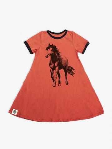 שמלת טי שירט עם הדפס סוס / בנות