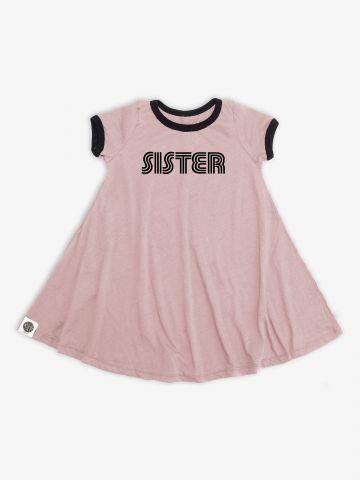 שמלת טי שירט עם הדפס Sister / בנות