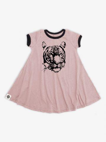 שמלת טי שירט עם הדפס נמר / בנות