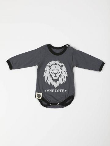 בגד גוף עם הדפס אריה ושרוולים ארוכים / בייבי בנים