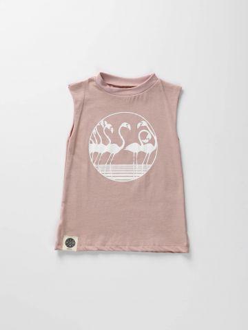 שמלת גופייה עם הדפס פלמינגו/ בייבי בנות