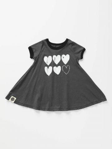 שמלת טי שירט עם הדפס לבבות/ בייבי בנות