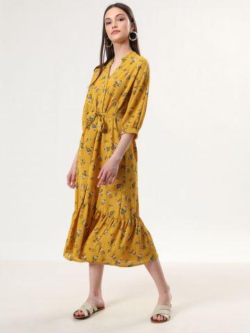 שמלת מידי בהדפס פרחים עם סיומת פפלום