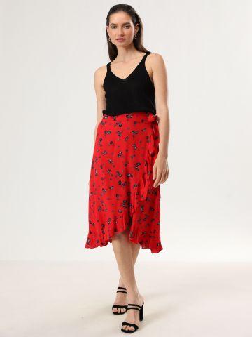 חצאית מעטפת מידי בהדפס פרחים