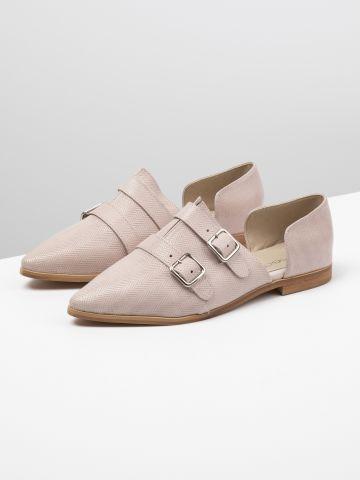נעלי אוקספורד שטוחות עם פתחים