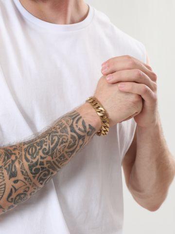 צמיד חוליות בציפוי זהב מאט 24K / גברים