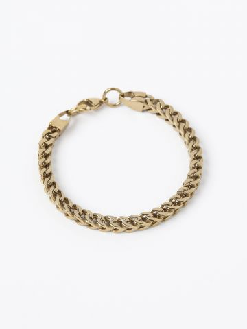 צמיד חוליות מתכת מלבני בציפוי זהב 24K / גברים