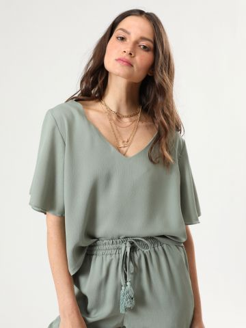 חולצת שיפון קרופ עם שרוולים קצרים