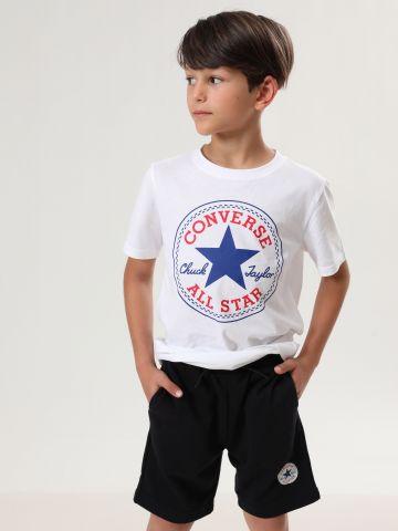 מכנסי טרנינג ברמודה עם הדפס לוגו של CONVERSE